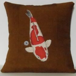 Alyse C. Bernstein: Red and White Koi with Coin