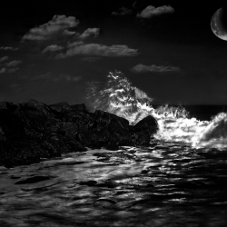 Laird Bindrim: Wave Crashing in Moonlight