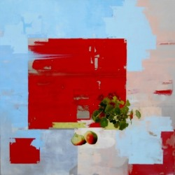 Christina Penrose: Nasturtium & Apples w/ red, blue & pink