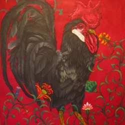 Eric Fausnacht: 5-black-rooster-with-floral-vines-2006