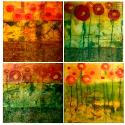 Dora Ficher: Poppy Collage Tetraptych