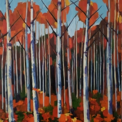 "Jenn Hallgren: Birch Forest (20"" x 20"")"