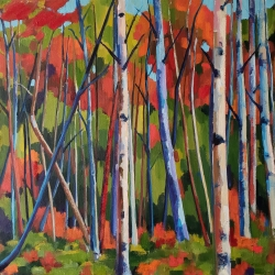 Jenn Hallgren: Birch Garden with Red Sand