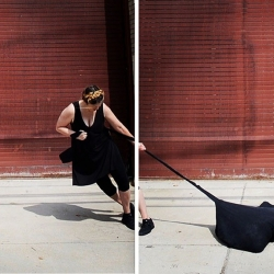 Heather Sincavage: the burden of this, an act of dragging the artist's weight in manure while walking
