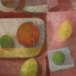 Melissa Husted-Sherman: Orange and lime in yellow bowl