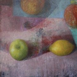 Melissa Husted-Sherman: Green Apple on Pink