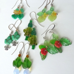 Jennifer Lipman-Bartel: Shades of Green Spring Flower earrings