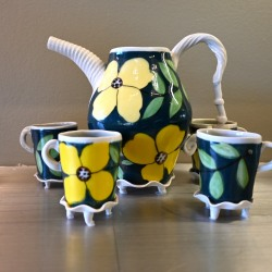 Jerry Bennett: Green Floral Tea Set