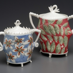 Jerry Bennett: Pair of Floral Covered Pots