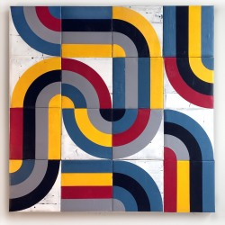 Louis Mario Gribaudo: 16 Squares: Quadrisected Circles & Bars - Grey, Blue, Yellow, Red, Black