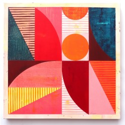 Louis Mario Gribaudo: 8 Rectangles with Arcs, Triangles and Circles: Red, Orange, Pink
