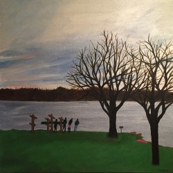 Mary Powers Holt: January Evening By The Lake