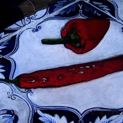 Christina Penrose: Red Peppers on Tile