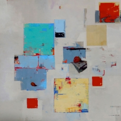 Christina Penrose: Strawberry & Newspaper w/ Raw Umber, Blue, Red & Yellow<