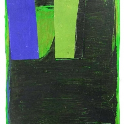 Dolores Poacelli: Oilstick 19 - blue green