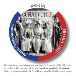 Pamela Hovland: I VOTED, CT Suffrage Group