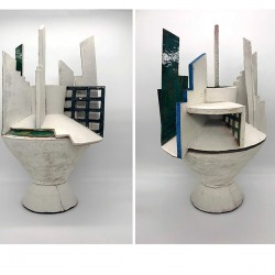 Roberta Massuch: Vase with Collared Lid (side view, rear view)