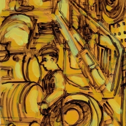 Marta Sanchez: Male worker in the train yard