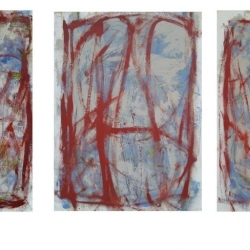 Kathleen Shaver: Trio: Small Paintings Red C1, C2, & C3