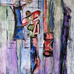 Barbara Shelly: Dancers on the Subway in Pastel