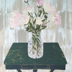 Valerie Coursen: Peonies on weathered green table