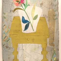Valerie Coursen: PEONY AND YELLOW TABLE