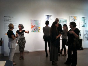 Deirdre Murphy with guests at the opening reception for Murmurations.