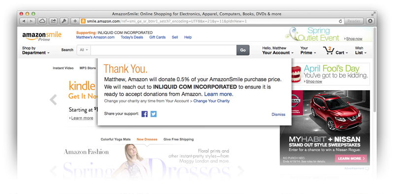 Use smile.amazon.com when you shop on amazon to donate a percentage of your purchases to InLiquid.