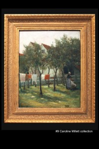 """GEORGE VAN MILLETT, """"WASHDAY"""" 1891 This oil painting, painted in Germany and framed by the artist himself, was a gift to Caroline Millett's parents on their wedding day."""