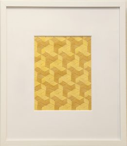 """Mallary Johnson, """"Spinning Stars (Tumeric)."""" Plant extracts on woven paper. 18 3/4 × 16 1/2 in"""