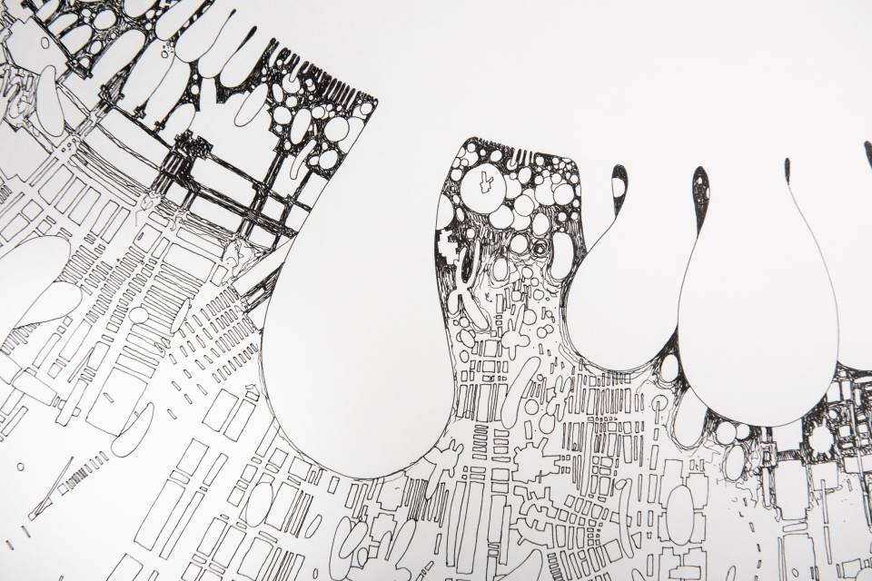 Fine art ink on paper drawings of cities and microorganisms by 