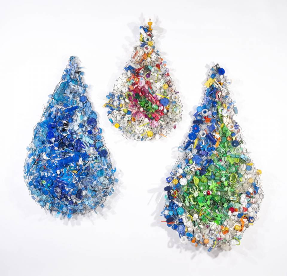 Amy Orr is Philadelphia based, multimedia / fiber artist. Working in the studio and on the street, Orr reuses common plastic waste that she has collected.