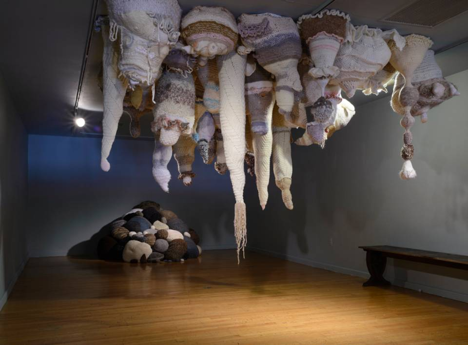 Melissa Maddonni Haims is a sculptor based in Philadelphia that uses various fibers to create knit graffiti, soft sculpture, and large-scale installations. She also sews quilts using vintage fabrics and subversive text.