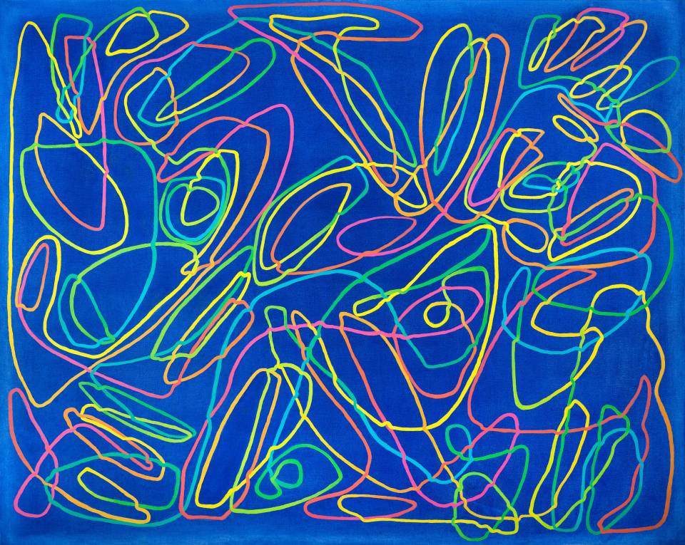 Paula Cahill's abstract paintings, comprised of single continuous meandering lines, often have the luminous quality of a LED light or screen and invite participation by the viewer.