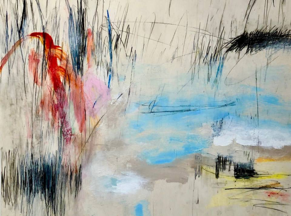 Nancy Neill is a contemporary abstract artist whose work combines painting with drawing using lines and scribble to portray the movement and energy of outdoors.  Her work can range from very colorful to monochromatic.  She paints with various mediums (acrylic, oil, oil pastel) on canvas, mylar and paper.