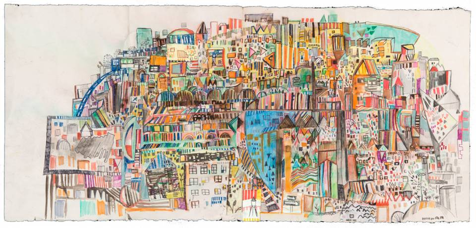 Miriam Singer's drawings look perceptually at multiple locations in Philadelphia and are then worked through memory, eventually becoming a fictional cityscape created with a playful approach.