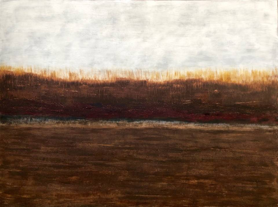 Chris Cox, a Philadelphia-area abstract artist, creates oil on canvas abstract landscape, seascapes and atmospheric paintings that are inspired and informed by what she has seen and experienced throughout the world. She builds upon layers of paint until each painting develops a rich history and texture. Her moody paintings are peaceful and meditative with a sense of mystery.